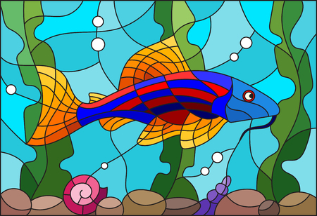 Illustration in stained glass style with a bright catfish on the background of water and algae