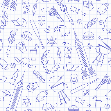 Seamless pattern on the theme of journey in the country of America, simple blue  contour  icons on the clean writing-book sheet in a cage Vettoriali