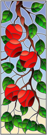 Illustration in the style of a stained glass window with the branches of Apple trees , the fruit branches and leaves against the sky,vertical orientation Ilustracja