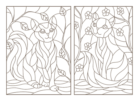 Set of contour stained glass illustrations with cats on tree branches background, dark contours on white background