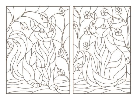 Set van contour gebrandschilderd glas illustraties met katten op boomtakken achtergrond, donkere contouren op witte achtergrond Stock Illustratie