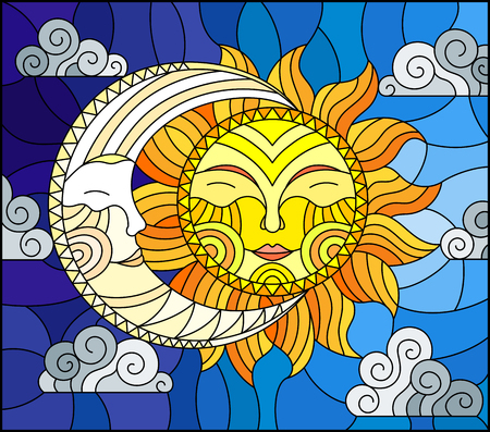 Illustration in stained glass style , abstract sun and moon in the sky Imagens - 98026015