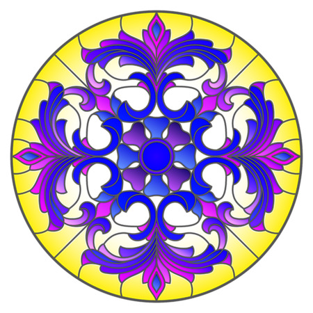 Illustration in stained glass style with abstract flowers, leaves and swirls, circular image on white background.