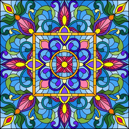 Illustration in Glasmalerei Stil mit quadratischen Spiegel und floralen Ornamenten