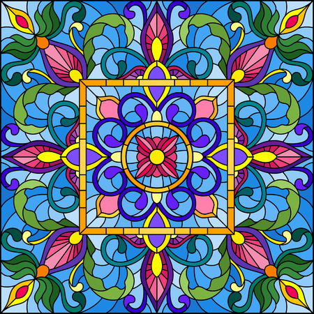 Illustration in stained glass style with square mirror and floral ornaments