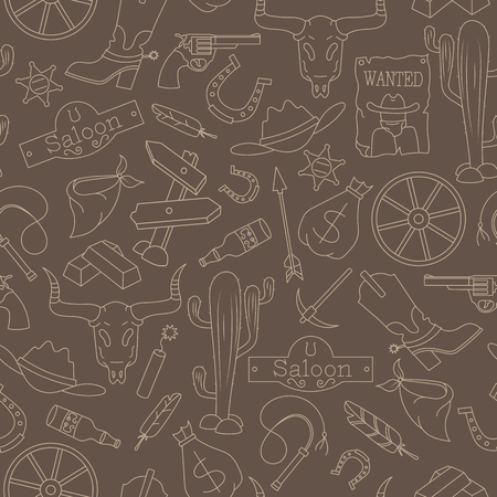 A Seamless pattern of the topic of piracy and sea travel outline icons, beige outline on a brown background