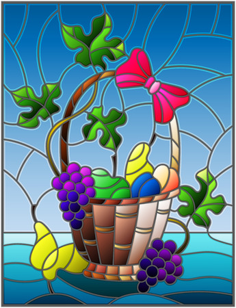 The illustration in stained glass style painting with a still life, fruit basket,  and fruits on a blue background