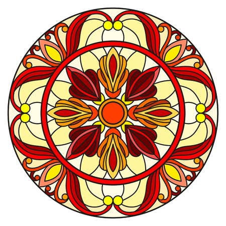 Illustration in stained glass style with abstract flowers, leaves and swirls, circular image on white background 矢量图像