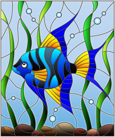 Illustration in stained glass style blue  fish scalar on the background of water and algae