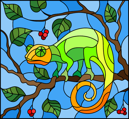 Illustration in stained glass style with bright green chameleon on plant branches blue background 矢量图像
