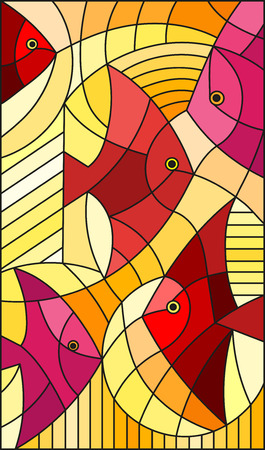 Illustration in stained glass style abstract fish,vertical image, warm red and yellow hues