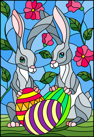 Illustration in stained glass style for Easter holiday, two rabbits and Easter painted eggs on a background of tree branches with flowers 矢量图像