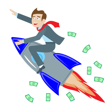Businessman riding a rocket goes up on  the background  money , the concept of success,on white background , isolate Иллюстрация