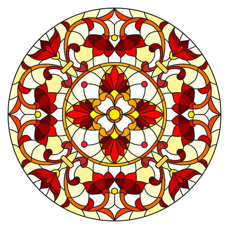 Illustration in stained glass style with abstract flowers, leaves and swirls, circular image on white background Ilustração