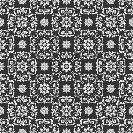 Seamless background with floral patterns, vintage grey patterns on dark background