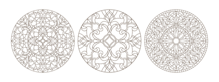 Set contour illustrations of stained glass, round stained glass floral, dark outline on a white background Illusztráció