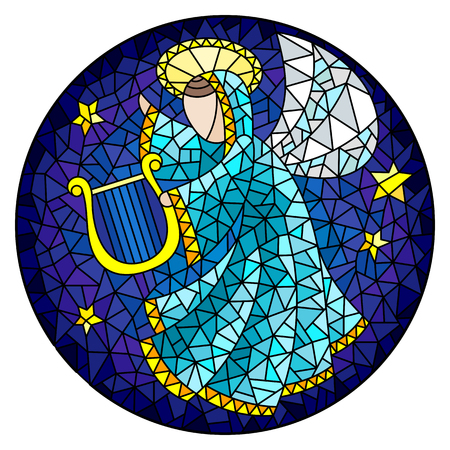 Angel playing harp in stained glass style illustration. Çizim