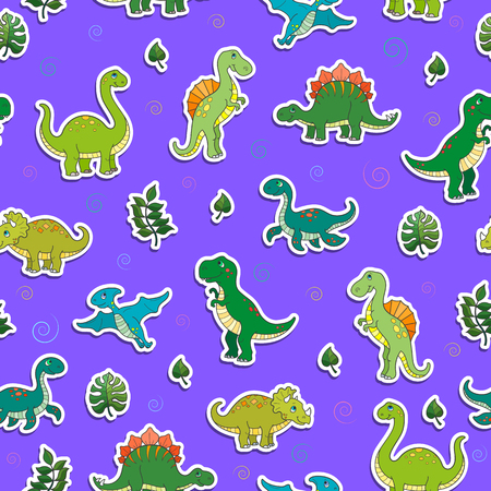 Seamless pattern with colorful dinosaurs and leaves, sticker icons on purple background.