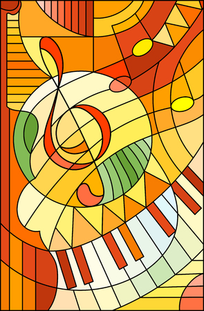 Abstract image of a treble clef in stained glass style, in yellow orange tones.
