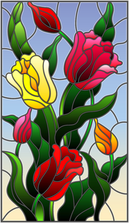 Illustration in stained glass style with a bouquet of colorful tulips on a sky background.