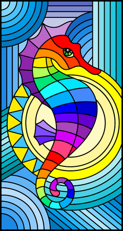Illustration in stained glass style with fabulous abstract fish seahorse, rainbow fish on blue background.