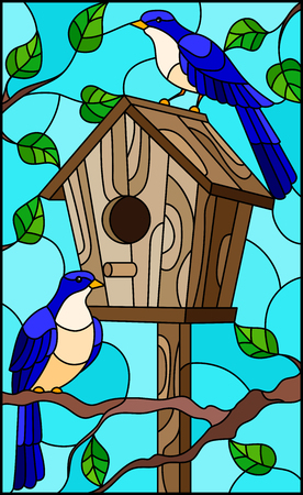 Illustration in stained glass style with a pair of bright blue birds and a birdhouse on a background of tree branches and sky.