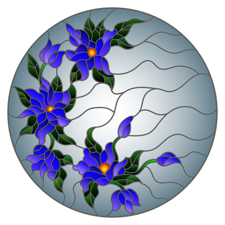 Illustration in stained glass style with abstract flowers, leaves and swirls, circular image on grey background.