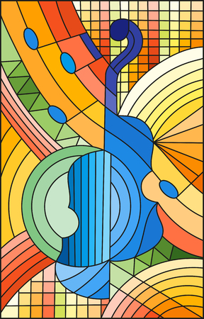 Illustration in stained glass style on the subject of music, the shape of an abstract violin on geometric background. Illustration