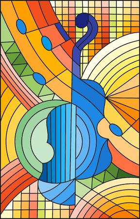 Ilustracja w stylu witrażu na temat muzyki, kształt abstrakcyjnych skrzypiec na geometrycznym tle.