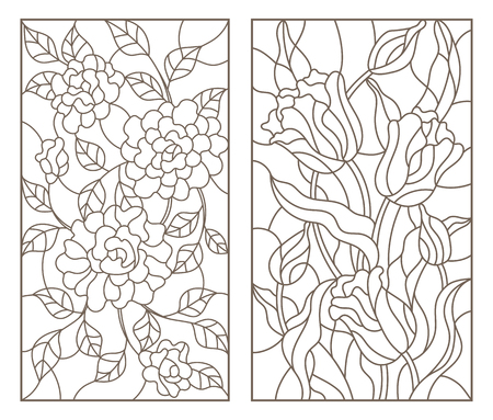 Set of contour stained glass illustrations with bouquets of flowers, roses and tulips, dark outlines on white background Stok Fotoğraf - 99144757