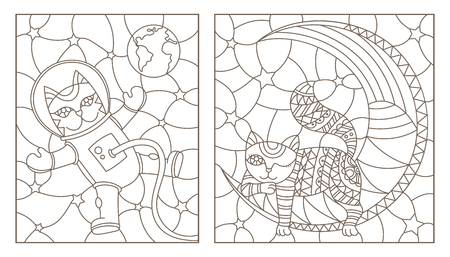 Set Of Contour Stained Glass Illustrations With Funny Cats Cat Astronaut And Sleeping On