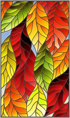 Illustration in stained glass style with colorful leaves of trees on a blue background Illustration