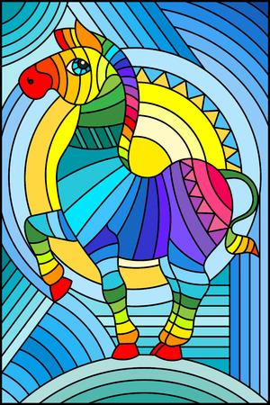 Illustration in stained glass style with abstract geometric rainbow Zebra Vettoriali