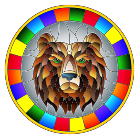 illustration in stained glass style painting with a bear's head, a circular image with bright frame 일러스트