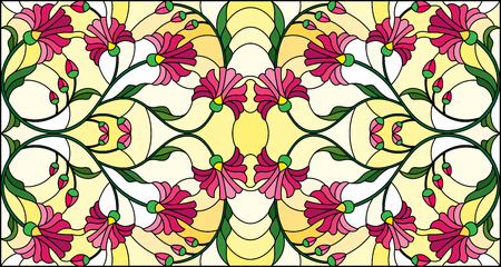 Illustration in stained glass style with abstract pink flowers on a yellow background, horizontal orientation