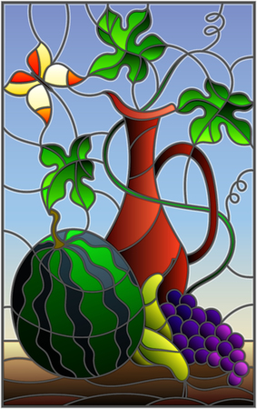 Illustration in stained glass style with still life, fruits, berries and pitcher on blue background 矢量图像