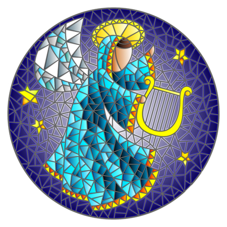 Illustration in stained glass style with an abstract angel in pink robe play the harp , round picture Ilustração