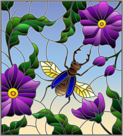 Illustration in stained glass style with flying Rhino beetle on background of branches with purple flowers, leaves and sky Illustration