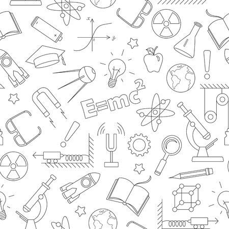 Seamless pattern on the theme of the subject of physics education, simple dark contour icons on white background