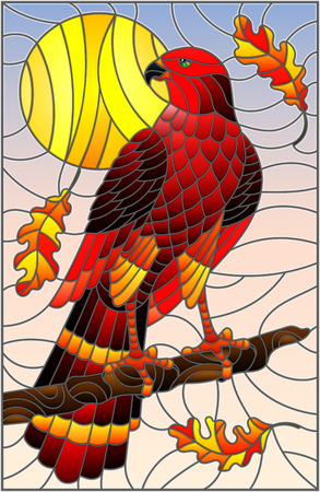 Illustration in stained glass style with fabulous red Falcon sitting on a tree branch against the sky