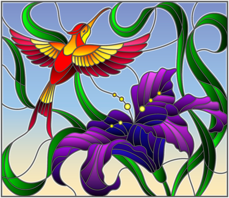 Illustration in stained glass style with bright Hummingbird against the sky, foliage and flower of purple Lily
