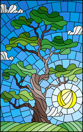 Illustration in stained glass style with green tree on sky background and sun Ilustração