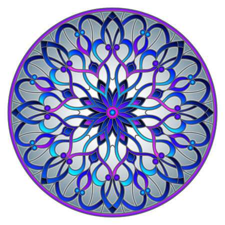 Illustration in stained glass style with abstract flowers, leaves and swirls, circular image on grey background