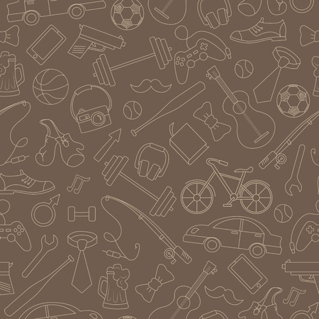 A Seamless pattern on the theme of male Hobbies and habits,simple hand-drawn beige outline on a brown background