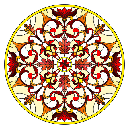 Illustration in stained glass style with abstract flowers, leaves and swirls, circular image on white background Illustration