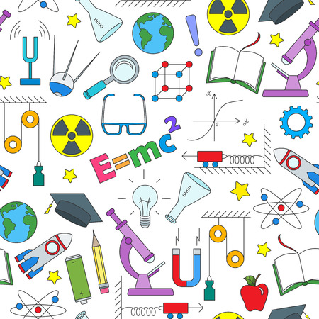 Seamless pattern on the theme of the subject of physics education, simple colored icons on white background