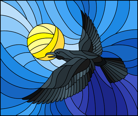 Illustration in stained glass style raven on the background of sky, sun and sun