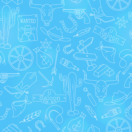 Seamless pattern on the theme of the wild West, contour icons, white contour on a blue background.