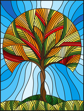 Illustration in stained glass style with abstract autumn tree on sky background. Illustration
