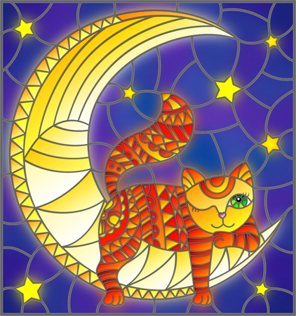 Illustration in stained glass style with fabulous red kitten lying on the moon on a starry sky background.